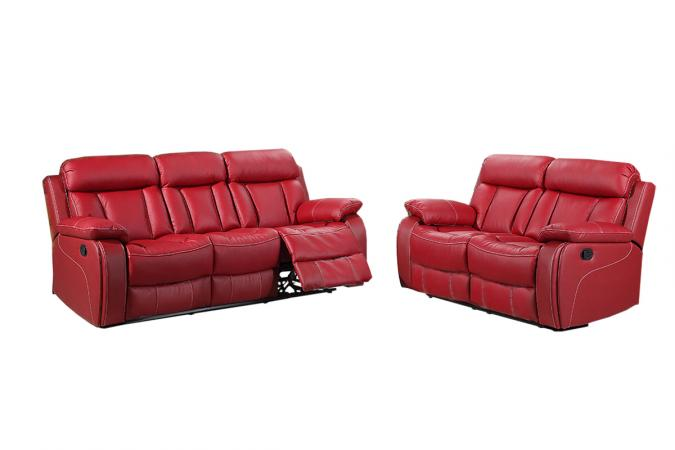 Leather Sofas Red Recliners Real Soft