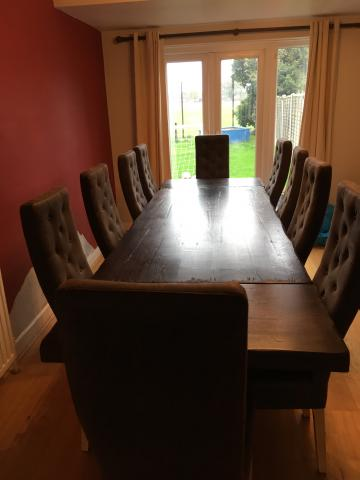 Preview of the first image of SOLID French Oak Dining Table & 10 Highback Chairs.