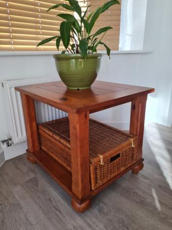 Image 1 of INDONESIAN SIDE TABLE WITH STORAGE BASKET