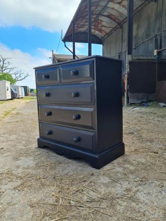 Image 1 of Black 2 over 3 Chest of Drawers