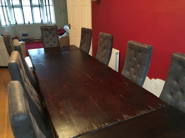 Image 2 of SOLID French Oak Dining Table & 10 Highback Chairs