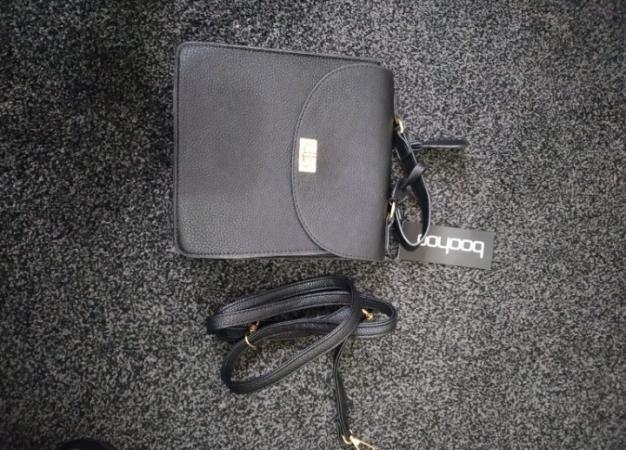Image 1 of Black pu lock and tab bag