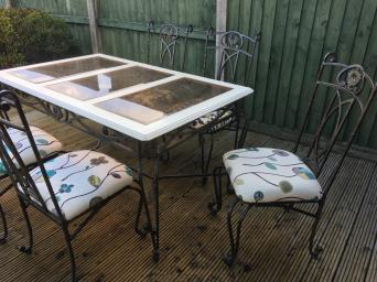 Wrought Iron Dining Table And Chairs For Sale Frame Wood Top With Three Tinted Bevelled Edge Glass Panels Five