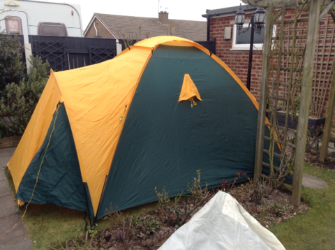 ... BESAR 4 man tent in green and yellow. No rips or tears to outer fabric separate groundsheet has marks through use fibreglass poles all intact. & Used Tents Buy and Sell in the UK and Ireland | Preloved