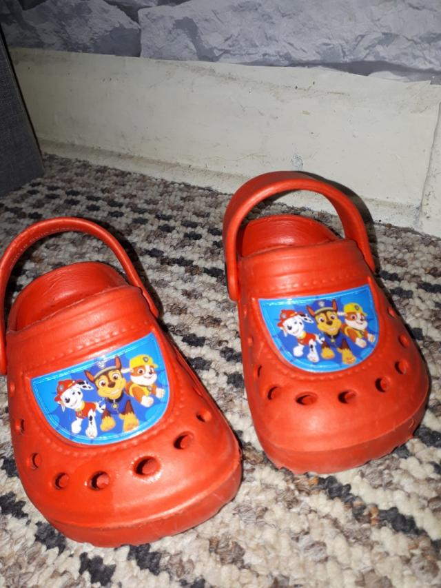 Preview of the first image of brand new red paw Patrol Crocs size 5 to 6 infants sizes.