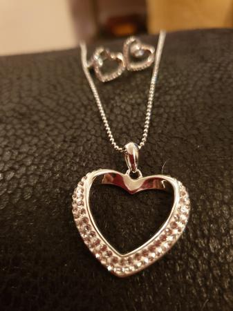Swarovski Crystal Set Heart Necklace Earrings