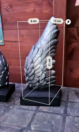 Image 3 of Solid Concrete Angel Winds Book Ends - Silver & Black