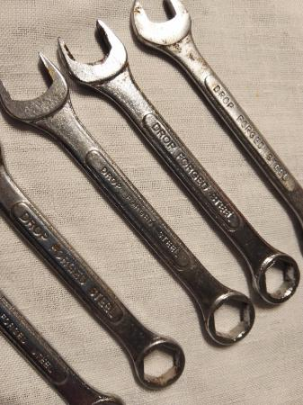 Image 2 of drop forged steel spanners x 8