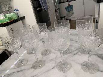 second hand crystal wine glasses - Collectible China and