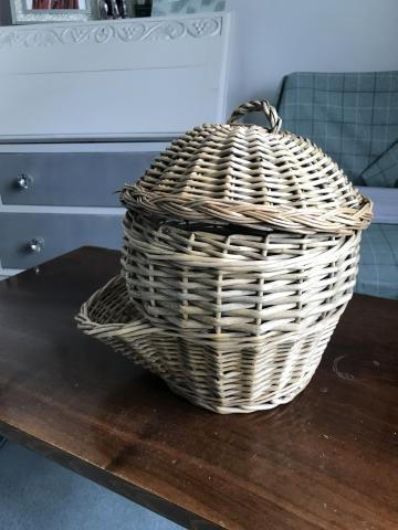 Preview of the first image of Vintage wicker onion storer.
