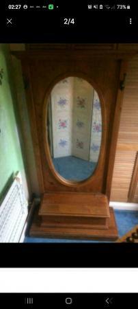 Image 1 of hallway coat hat mirror stand rack storage