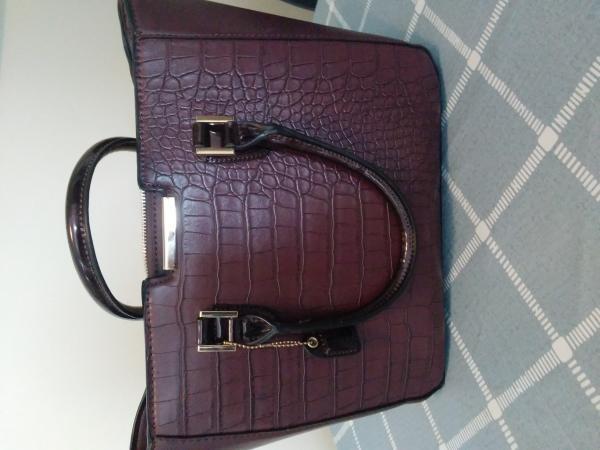 Image 1 of Clarkes handbag with crossbody straps Burgundy mock croc  st
