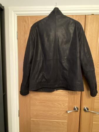 Image 2 of Mans navy sued leather jacket