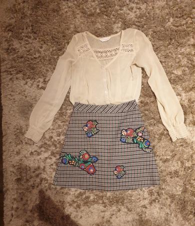 Image 1 of Zara embroidered tweed skirt size XS