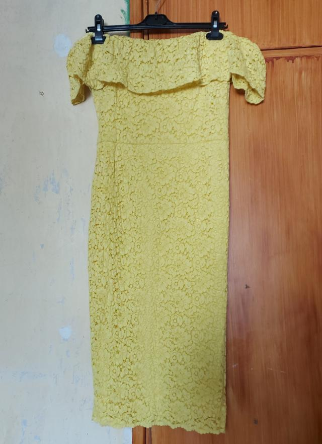 Preview of the first image of Yellow Floral Lace Midi Dress - Brand New.