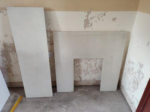 Image 1 of White Marble Hearth and backplate