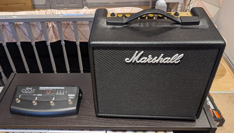 Image 1 of Marshall Code 25 with Foot Switch and dust cover.