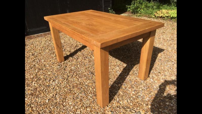 Solid Oak Family Farm House Dining Table Square Legs