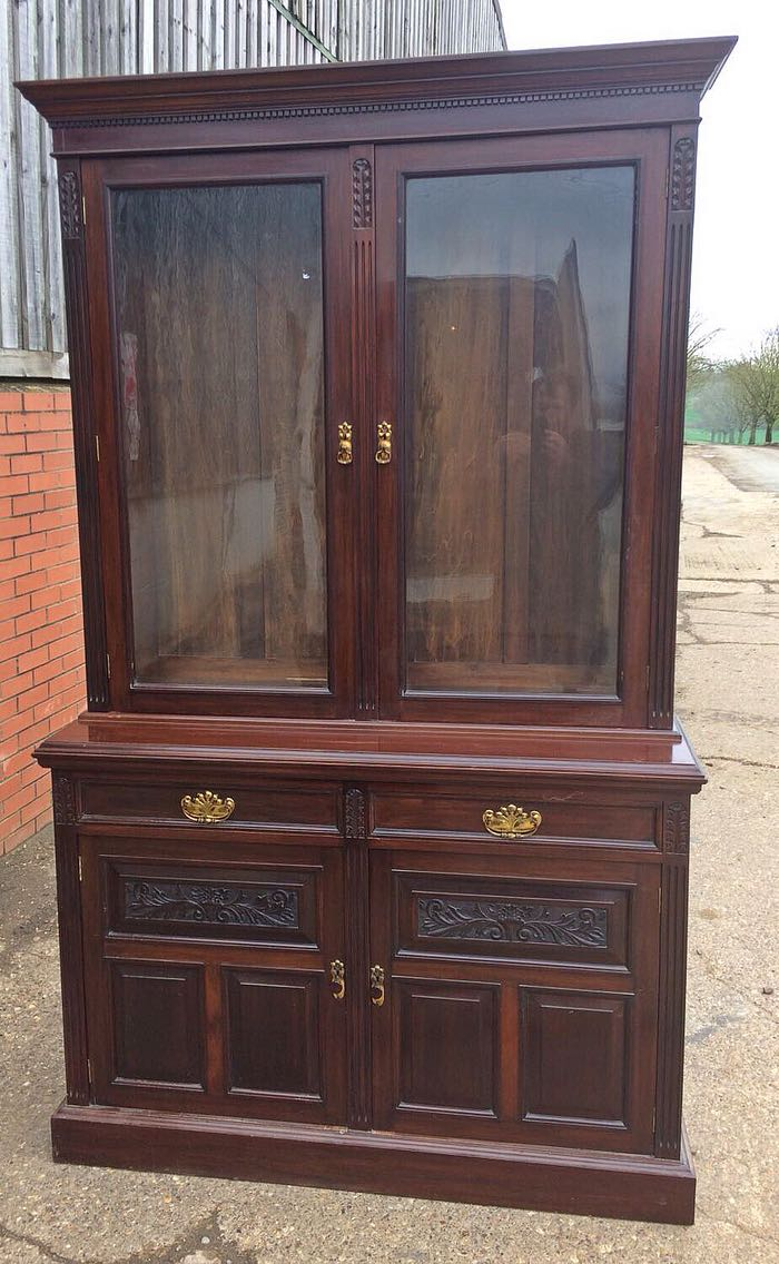Edwardian Bookcase In Good Solid Condition. Lovely Piece Of Furniture.  Measures 220cm High, 136cm Wide, 50cm Deep. Can Deliver For Free Within  Milton Keynes ...