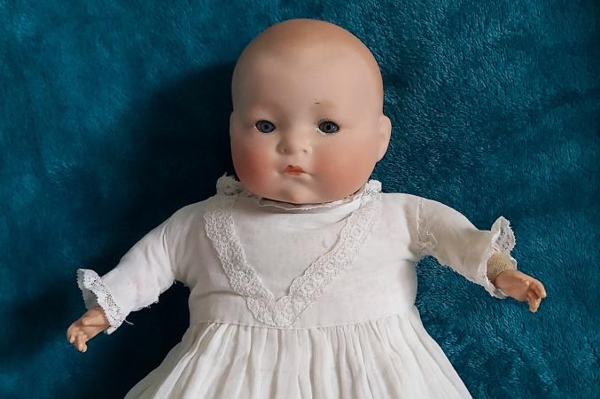 Image 2 of Antique bisque headed doll.