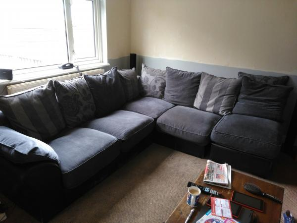 fabric and leather corner sofa For Sale in Leigh, Lancashire | Preloved
