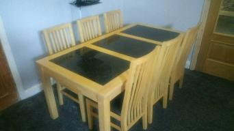 Large Bentley Designs Solid Beech And Granite Dining Table 6 Chairs Measures 180 X 80cm Is Spacious To Have 3 Either