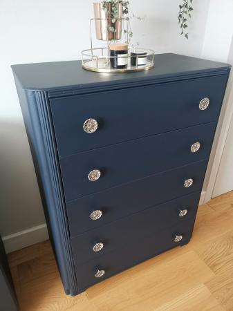 Image 1 of Vintage 1960s Handpainted 5 drawer chest