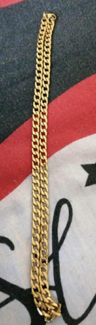 Preview of the first image of 1 mens 8mm 24 inch gold plated chain.
