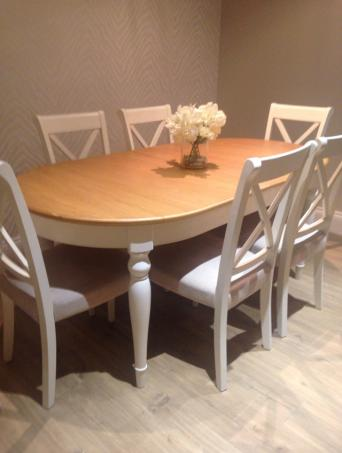Beautiful Quality Solid Oak Table And 6 Cross Back Upholstered Chairs In Linen Fabric Extendable To An Extra 50 Cm So Will Seat 8 Possible 10 Brought