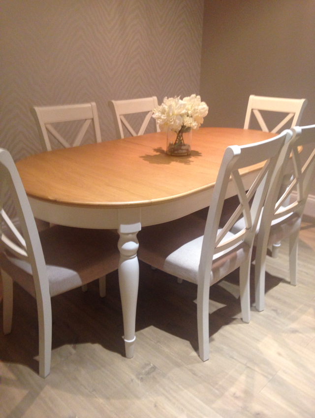 Beautiful Quality Solid Oak Table And 6 Cross Back Upholstered Chairs In  Linen Fabric Extendable To An Extra 50 Cm So Will Seat 8 To Possible 10  Brought ...