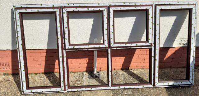 Preview of the first image of 3 x Brand new UPVC Rosewood windows.