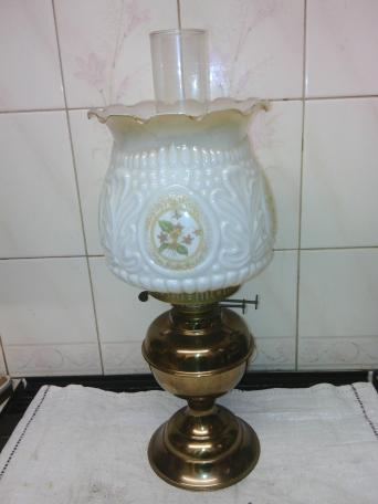 Oil lamp shades local classifieds buy and sell in the uk and brass oil lamp with twin burner head wick snuffer clear glass chimney and white tulip glass decorated shade in great barely used condition measures 47cm mozeypictures Images