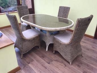 Excellent Condition Wicker Dining Table With Glass Top And 4 Chairs The Was Bought 8 Months Ago Is In A Nearly New
