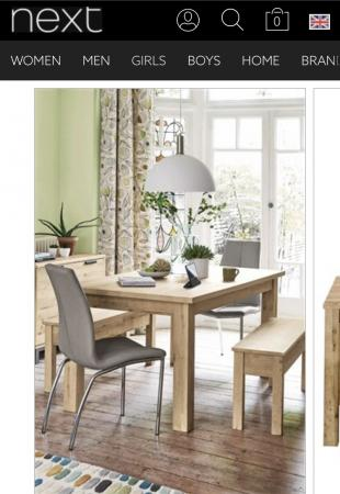 BRAND NEW NEXT LIGHT OAK BRONX DINING TABLE AND BENCH SET