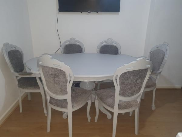 Image 1 of Shabby Chic French Dining Table & 6 Chairs