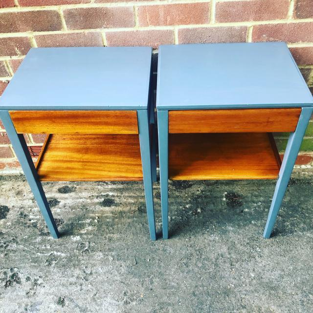 Preview of the first image of Military 1974 solid teak bedside units with draw.