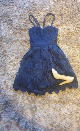 Image 1 of Chi Chi navy laced dress Petite 6