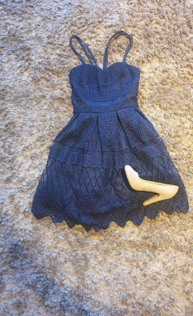 Preview of the first image of Chi Chi navy laced dress Petite 6.