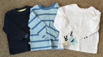 de5631a88 Good used condition. Three boys long sleeved tops by Nutmeg. The light blue  top has a slight stain on the collar. Barely noticeable. Size 6-9 months.