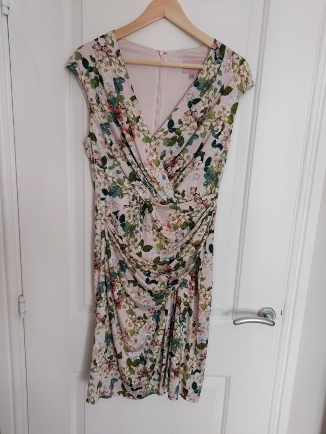 Preview of the first image of Phase 8 Cap sleeve floral dress. Size 14.