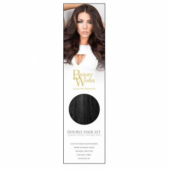 Beauty works hair extensions second hand health and beauty buy beauty works double hair set in jet set black 18inch 180g box has been opened but hair is still tied together hair comes with clips already on but you can pmusecretfo Images