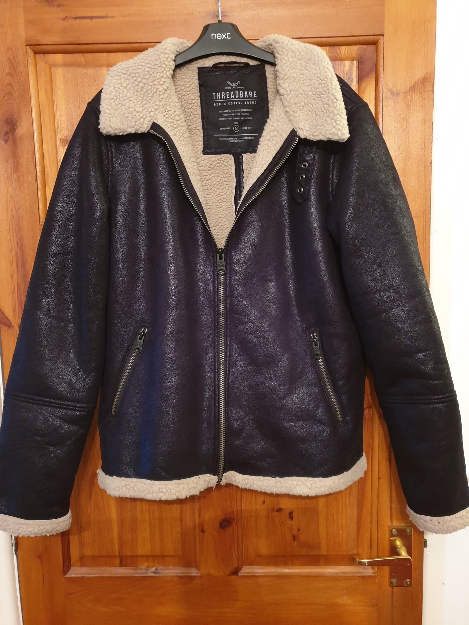 Leather Fur Zip Jacket Mens Collar Gallotti Front euro Med