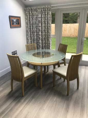 Rotating Glass Top Dining Table