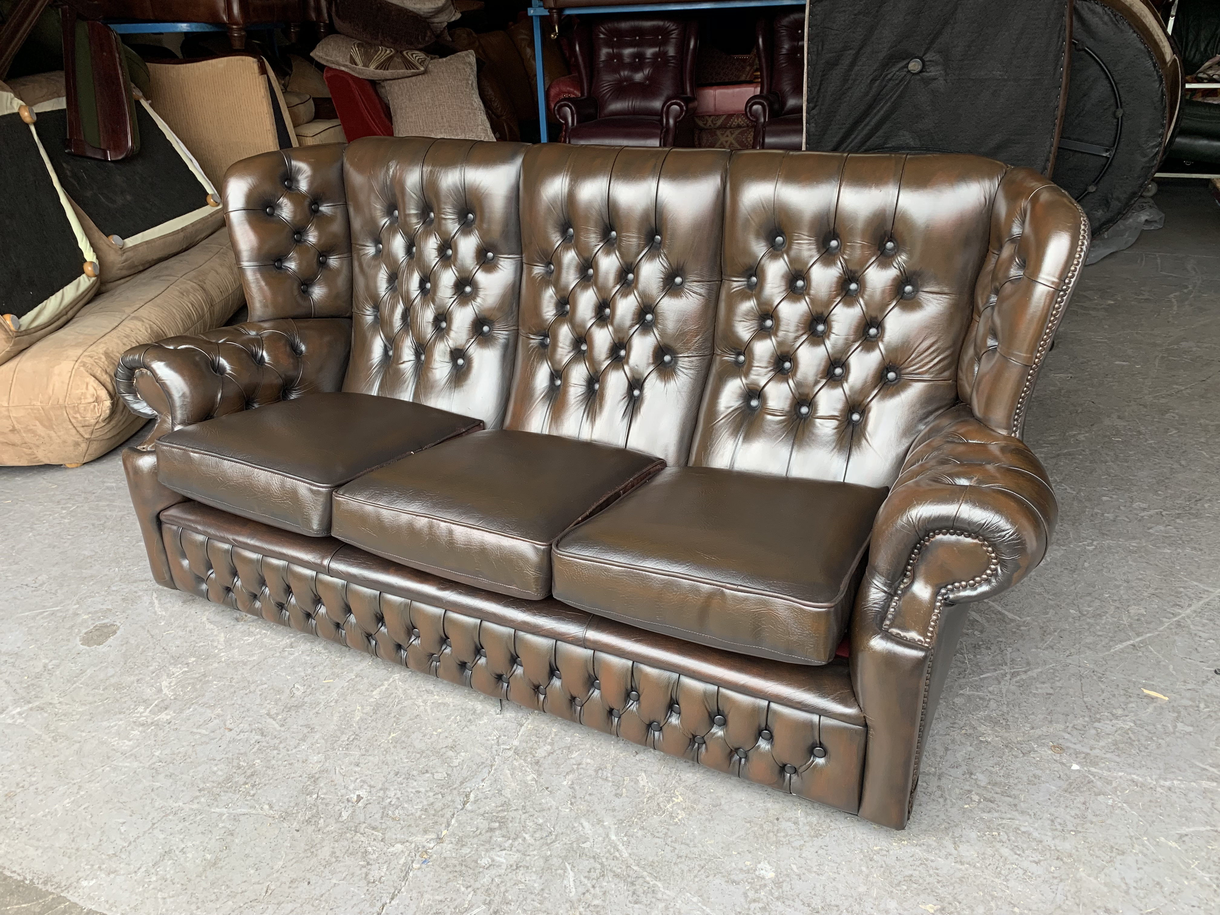 brown leather chesterfield highback sofa we deliver uk wide for rh preloved co uk