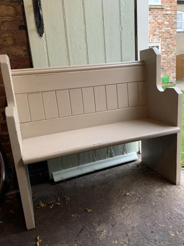 Preview of the first image of Solid shabby chic, Pew style wooden bench seat.