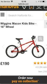 "Wiggins's child 16"" bike red - £80"