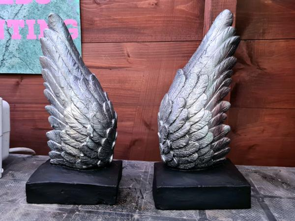 Image 1 of Solid Concrete Angel Winds Book Ends - Silver & Black