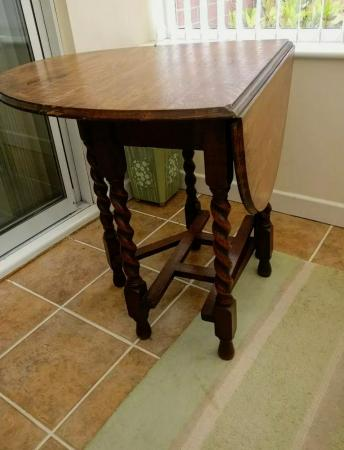 Image 2 of Traditional Vintage Oak Drop Leaf Barley Twist Dining Table