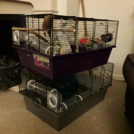 Image 3 of 2 hamster cages and tubes.