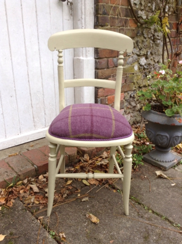 old wooden chair. Beautiful Chair A Lovely Old Wooden Chair Newly Renovated And Upholstered In Mustard Chalk  Paint Purple Check Velour Seat With A Matching Twisted Braid For Old Wooden Chair